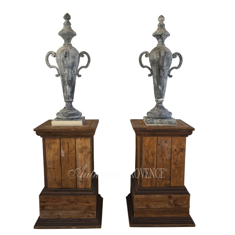 19th Century Pair of French Napoleon III Zinc Finial Urns