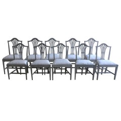 19th Century Set of Ten Swedish Gustavian Style Dining Chairs