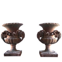 Late 19th Century Pair of Tuscan Neoclassical Style Urns in Terracotta