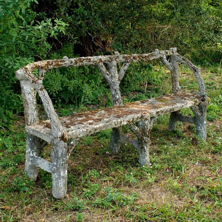 19th Century Faux Bois, Antique French Garden Furniture Set In Good Condition For Sale In West Palm Beach, FL