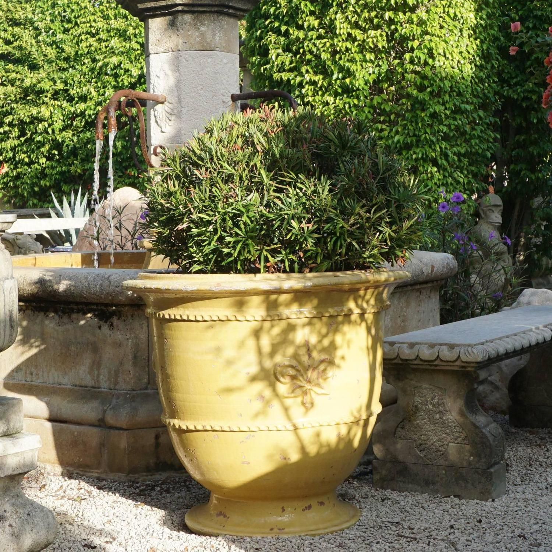 Pair of Classic Yellow French Fleur de Lys Anduze Garden Urn Planters ...