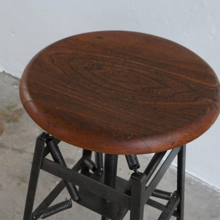 """Restored stool with spring suspension. This is an American medical antique """"Set-Ezy"""" dental stool with a spring suspension seat, fabricated by the American Cabinet Co. located in Wisconsin. The seat was designed by Charles E. Miller with the patent"""
