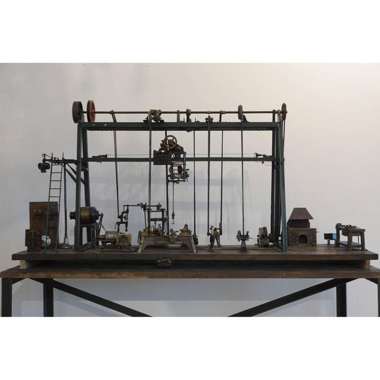 A very rare model of an miniature Industrial machine shop-factory, circa 1910 Paris with oven, saA testimony of the Industrial Revolution. (Museum quality).
