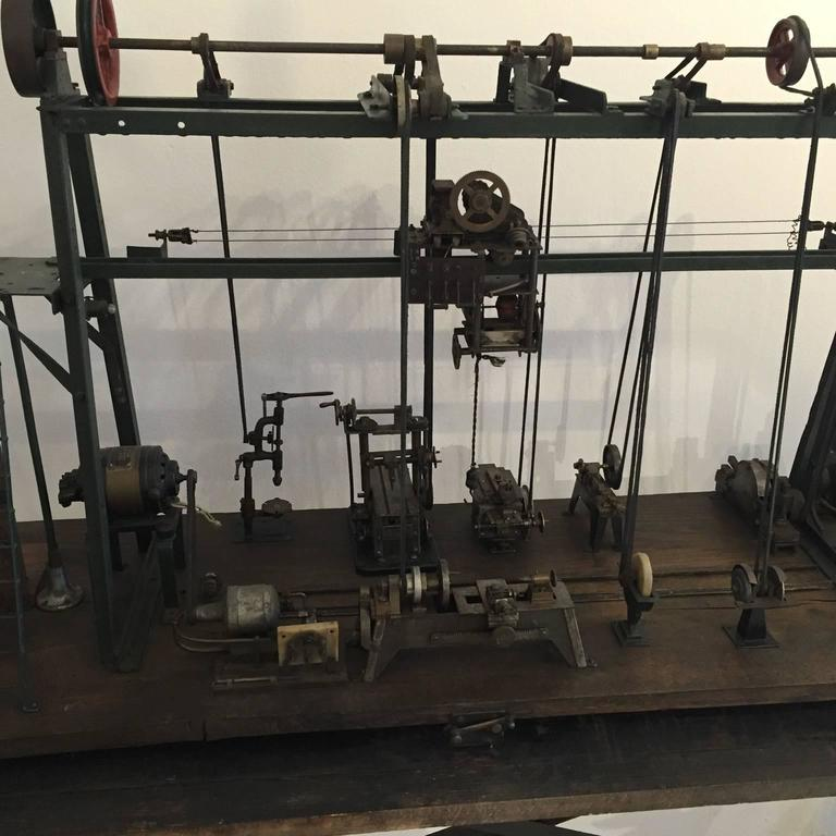 Metal Early 20th Century Miniature Model of French Industrial Machinery Assembly Line For Sale