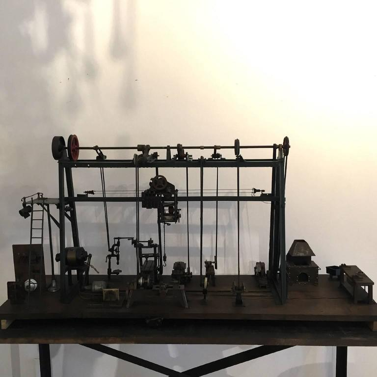Early 20th Century Miniature Model of French Industrial Machinery Assembly Line For Sale 1