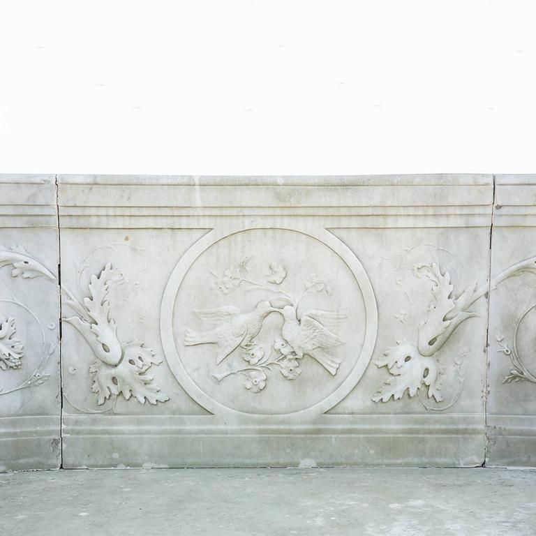 19th Century Neoclassical Marble Park Bench in Carrara Marble 2