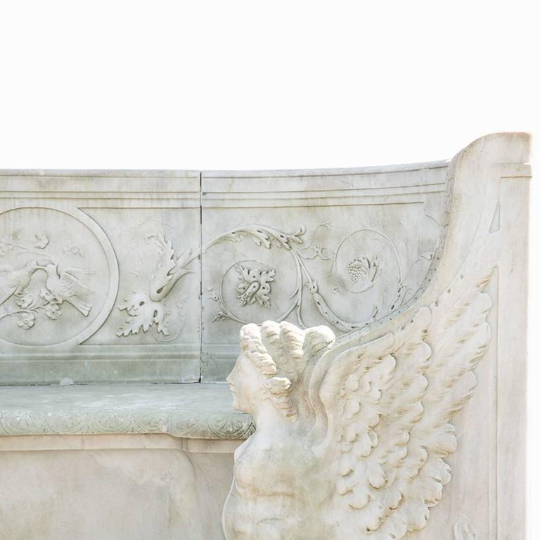19th Century Neoclassical Marble Park Bench in Carrara Marble 4