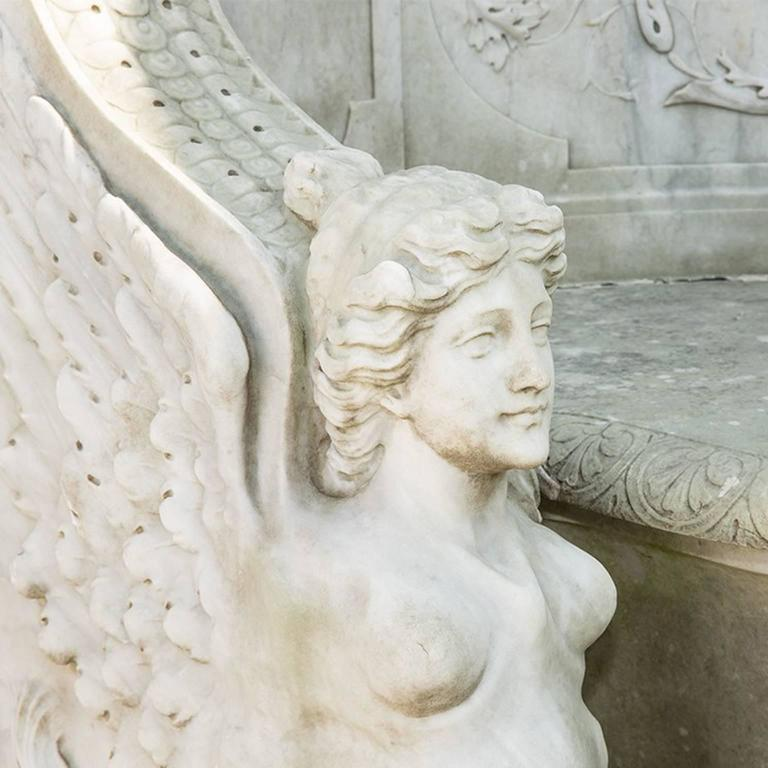 19th Century Neoclassical Marble Park Bench in Carrara Marble 5