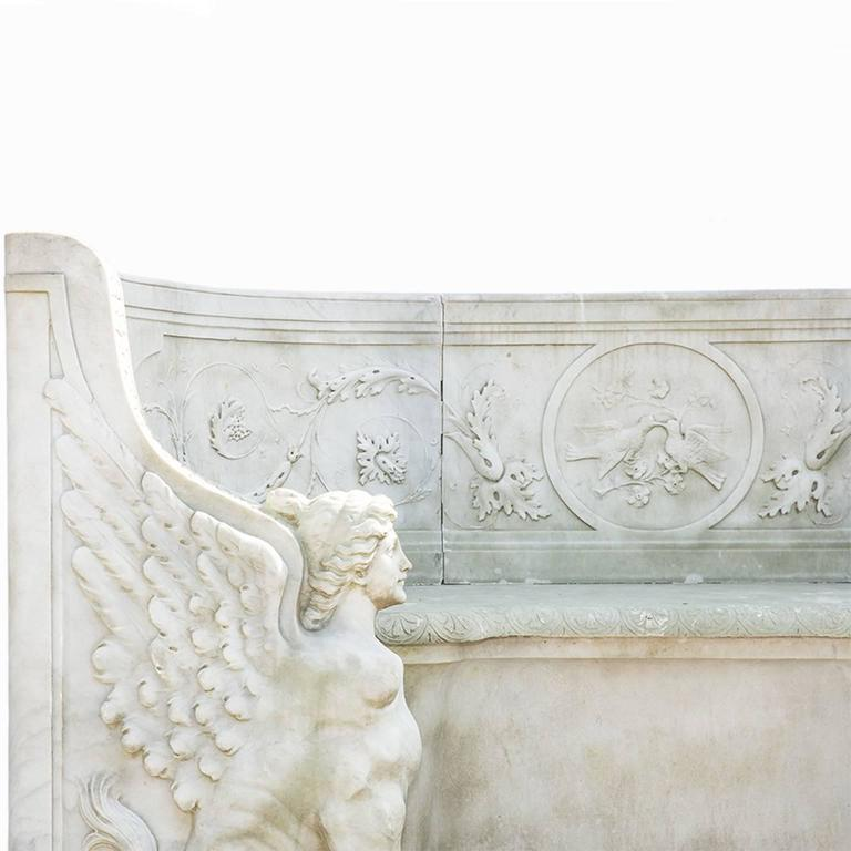 19th Century Neoclassical Marble Park Bench in Carrara Marble 6
