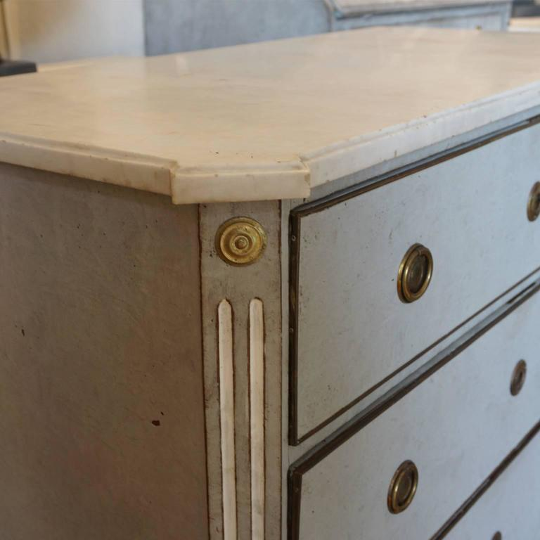 19th Century Blue Grey Swedish Gustavian Chest, Antique Oakwood, Marble Commode For Sale 3