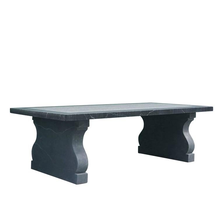 21st Century Belgian Grey Blue Stone Rectangular Dining Table In Excellent Condition For Sale In West Palm Beach, FL