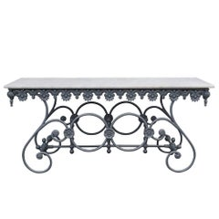 20th Century Italian Butcher Table in Cast Iron and Carrara Marble