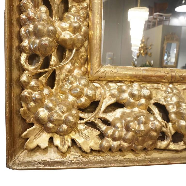 Baroque 19th Century Italian Gilded Wood Wall Mirror For Sale