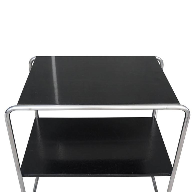 Bauhaus 20th Century Pair of Black Console Tables, Austrian Side Tables by Marcel Breuer For Sale