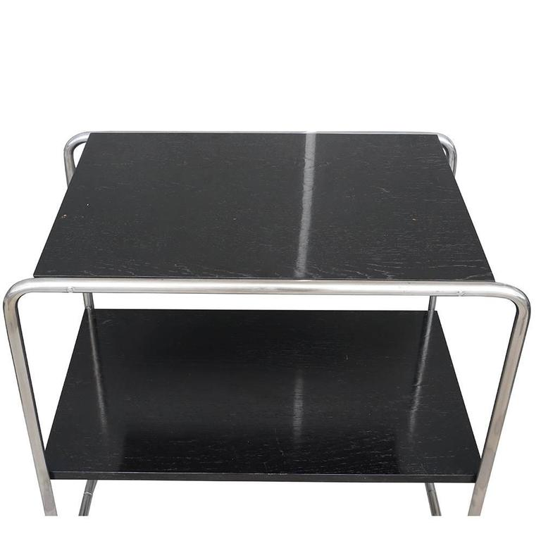 Hand-Carved 20th Century Pair of Black Console Tables, Austrian Side Tables by Marcel Breuer For Sale