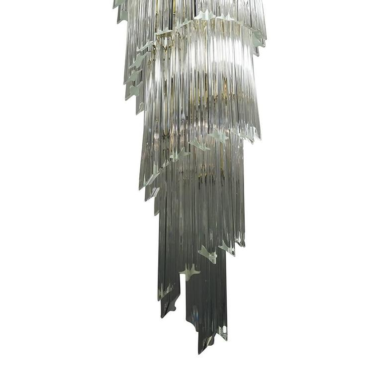 Murano Spiral Chandelier: Veimpressive Italian Venini Murano Spiral Chandelier For