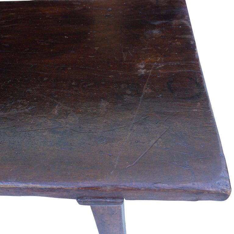 18th Century Tuscan Walnut Kitchen Table, Italian Dark Waxed Farm Table For Sale 4