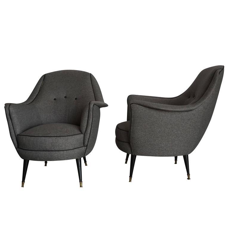 Mid-Century Modern 20th Century Grey Italian Lounge Chairs For Sale