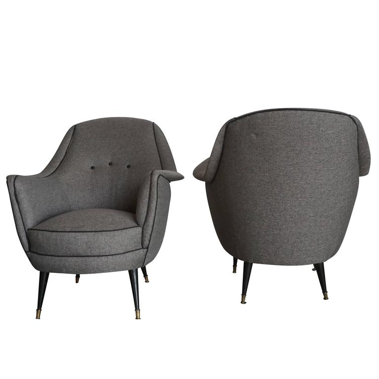 Hand-Crafted 20th Century Grey Italian Lounge Chairs For Sale