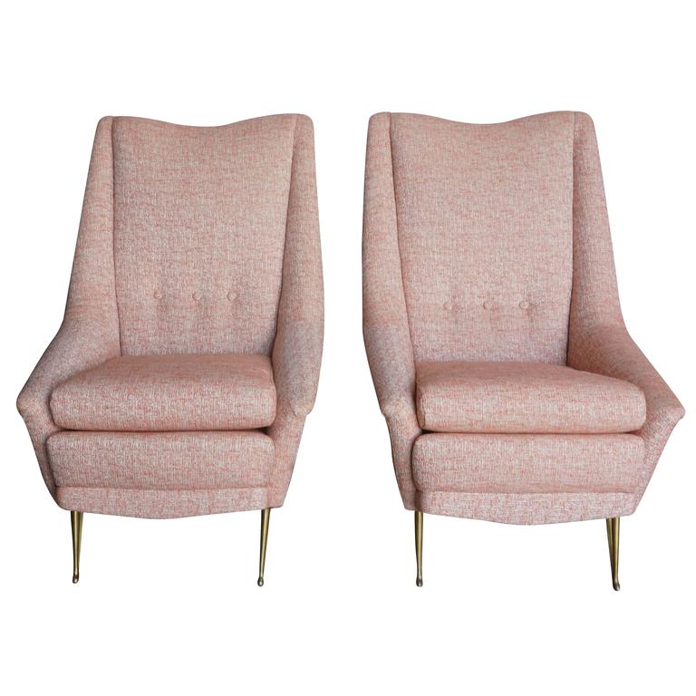 Mid Century Modern Pair of Italian Lounge Chairs For Sale at 1stdibs