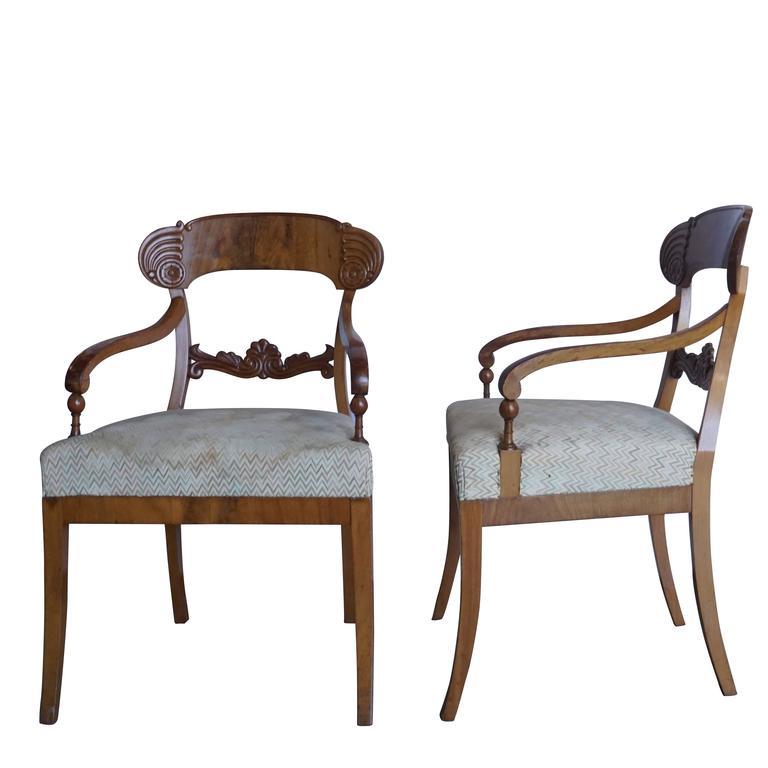 Biedermeier Early 19th Century Set of Six Karl Johan Armchairs For Sale