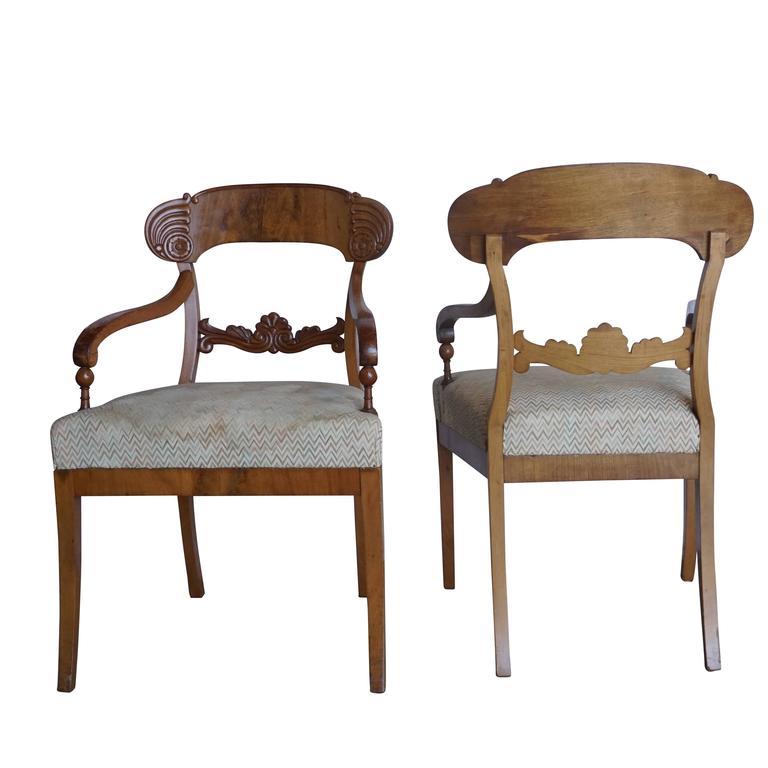 Swedish Early 19th Century Set of Six Karl Johan Armchairs For Sale