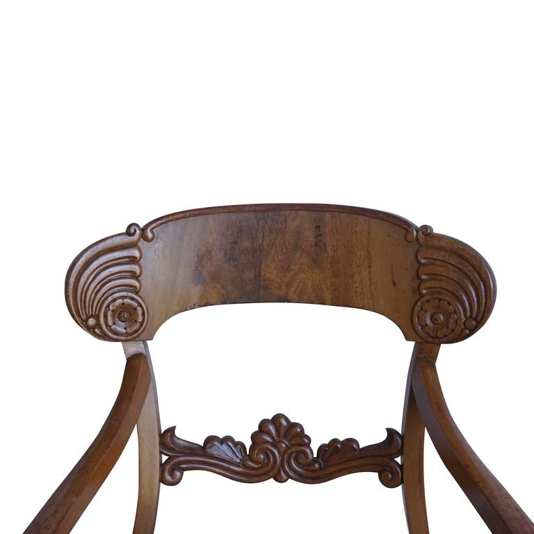 Early 19th Century Set of Six Karl Johan Armchairs In Good Condition For Sale In West Palm Beach, FL