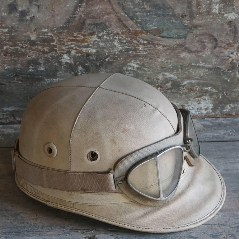 Vintage English Racing Helmet In Authentic Leather With Goggles Similar Used By Stirling Moss