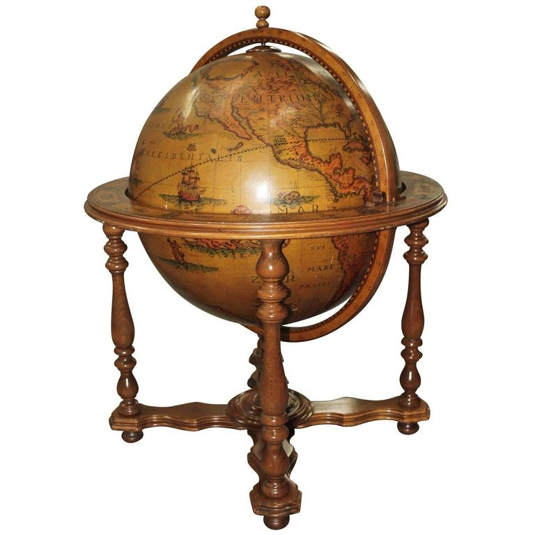 French Mid-Century Modern World Globe Dry Bar, circa 1960s