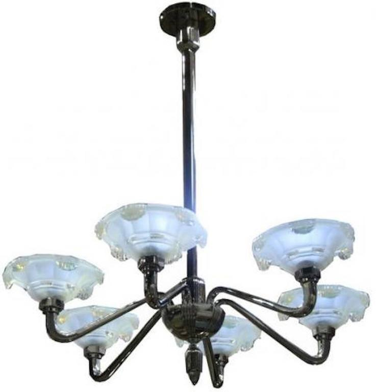 French Art Deco Opalescent Chandelier For Sale