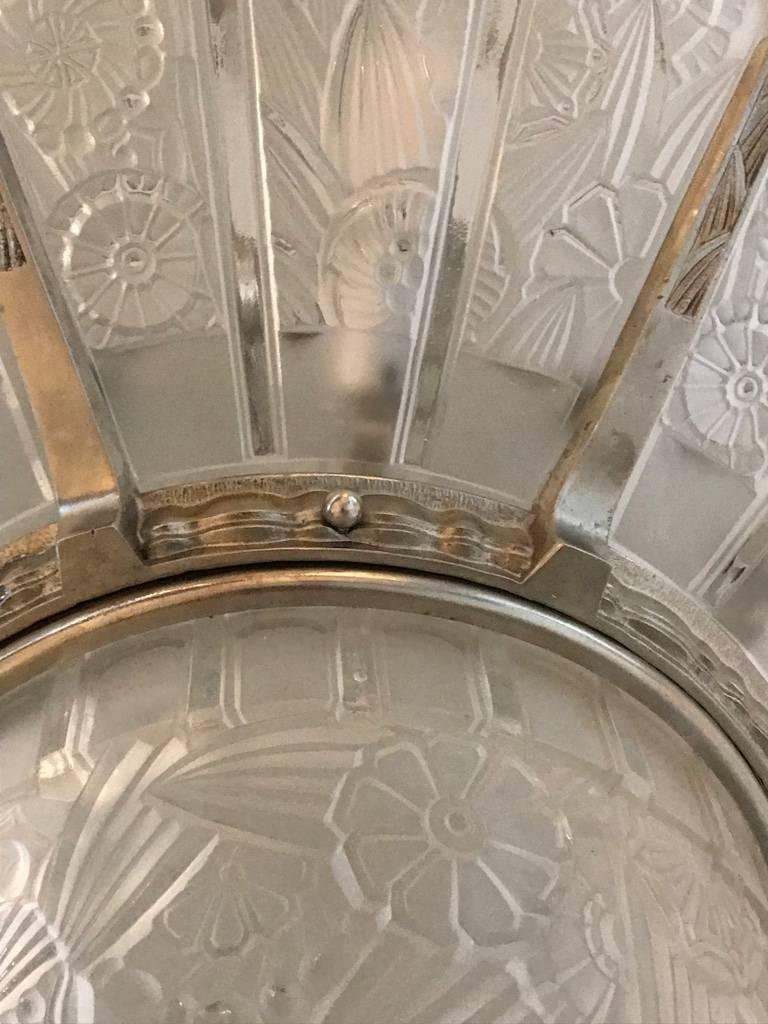 French Art Deco Starburst Chandelier Signed by Hettier Vincent For Sale 2