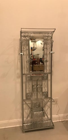 French Art Deco Hall Tree Coat Rack with Sabino Glass Light Sconce