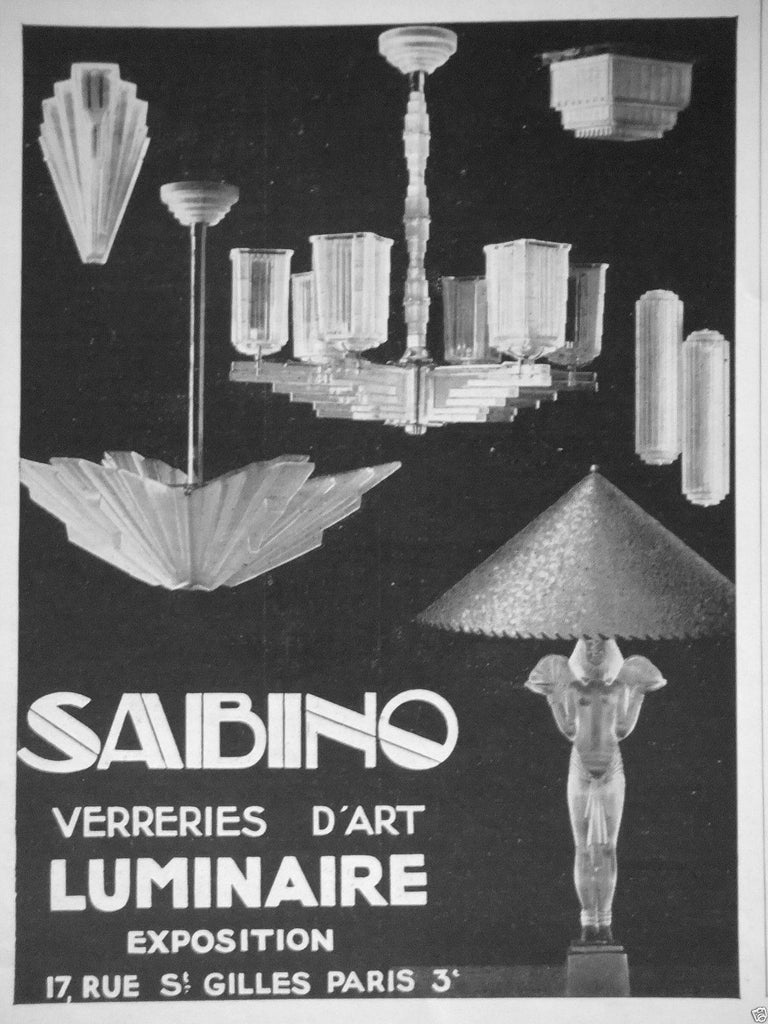 Grand French Art Deco Six-Panel Starburst Chandelier by Sabino For Sale 6