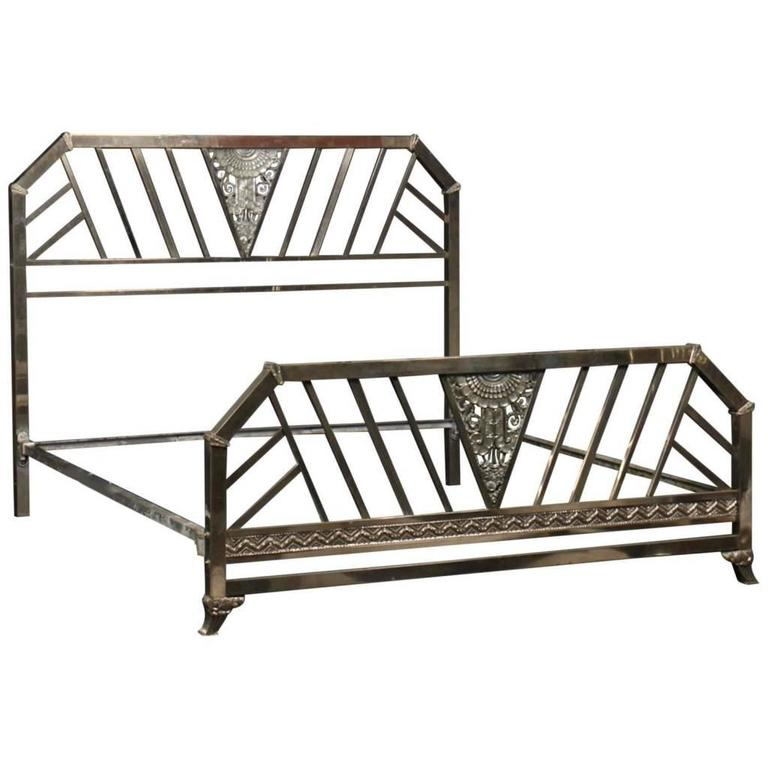Rare Art Deco Chrome King Size Bed At 1stdibs