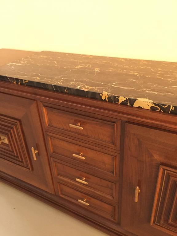 Stunning French Art Deco Buffet with Marble Top In Excellent Condition For Sale In North Bergen, NJ