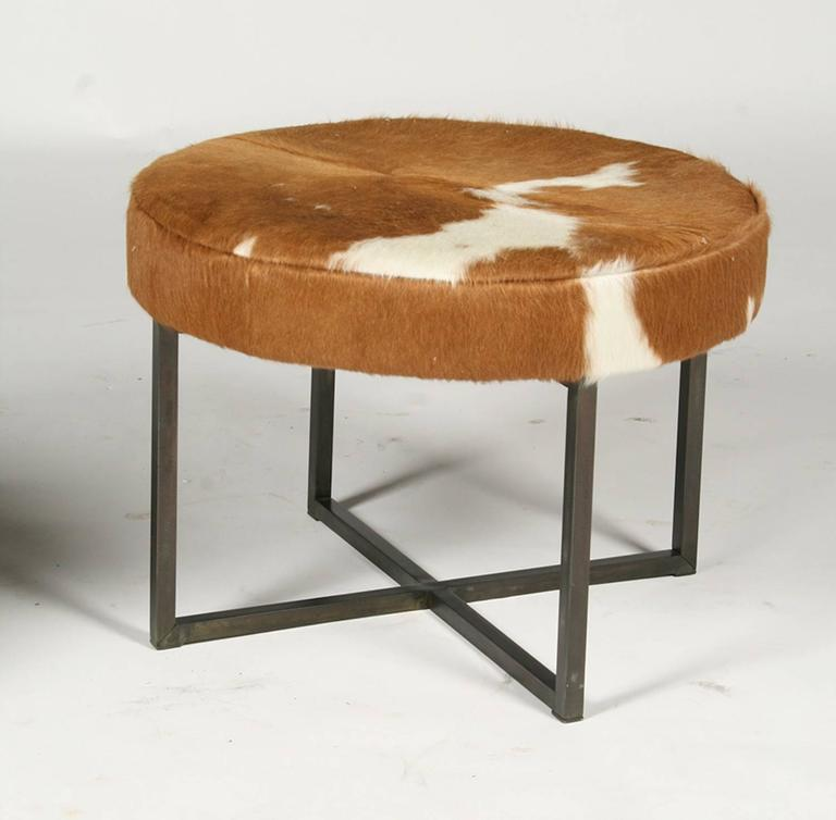 Pair of Circular Upholstered Cowhide Benches 2