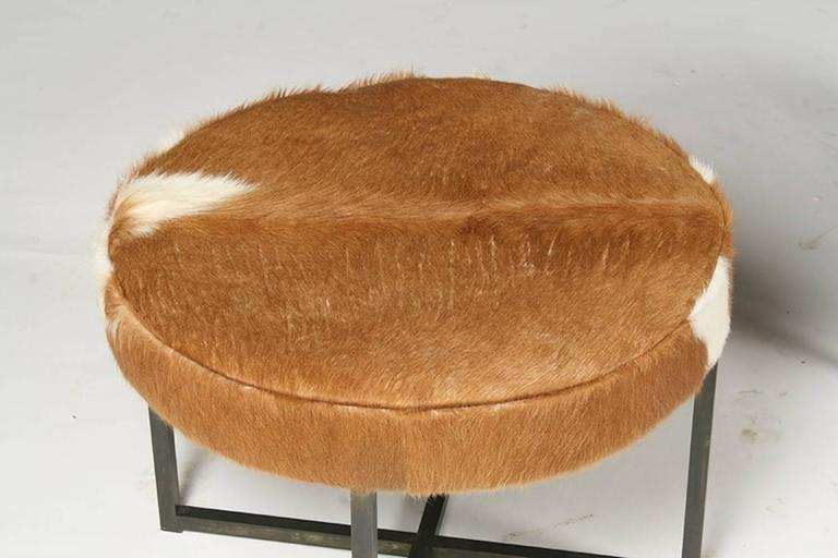 Pair of Circular Upholstered Cowhide Benches 3