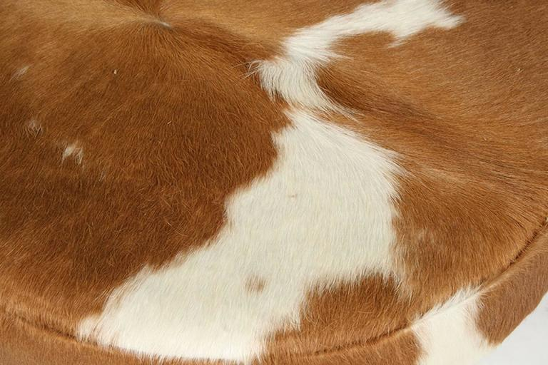 Pair of Circular Upholstered Cowhide Benches 4