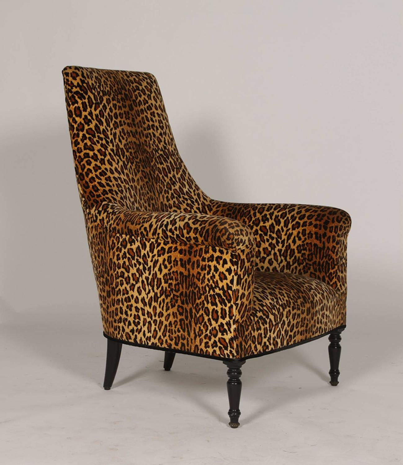 Pair Of Napoleon Iii Leopard Print Club Chairs At 1stdibs