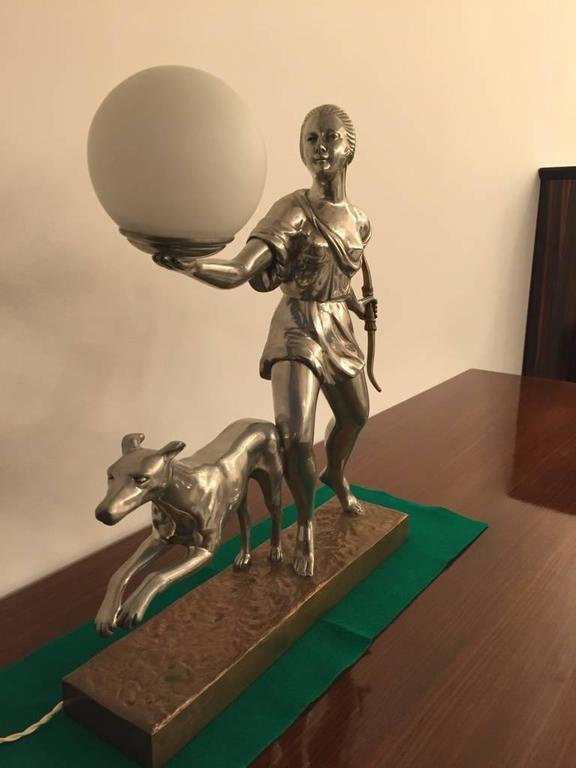 French Art Deco Table Lamp In Good Condition For Sale In North Bergen, NJ