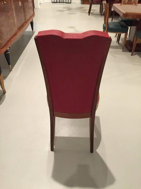 French Art Deco Walnut Dining Chairs, Set of Six in Leleu Style In Good Condition In North Bergen, NJ