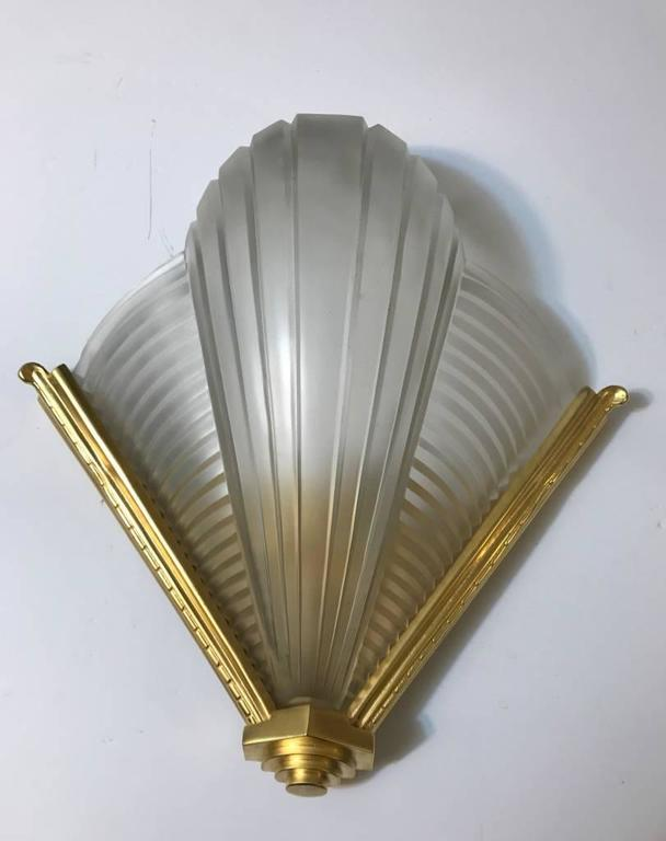 Pair of Petitot Ribbed Wall Sconces French Art Deco For Sale at 1stdibs