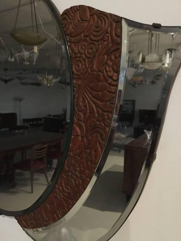 This stunning American Art Deco 1920s mirror with wood floral motif is perfect for any room in your home. Very elegant and beautiful.