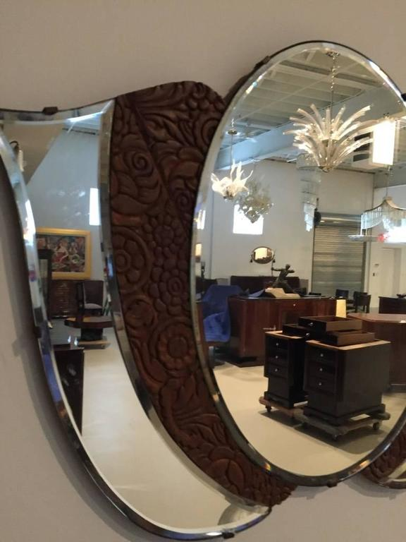 American Art Deco 1920s Mirror with Wood Floral Motif For Sale 1
