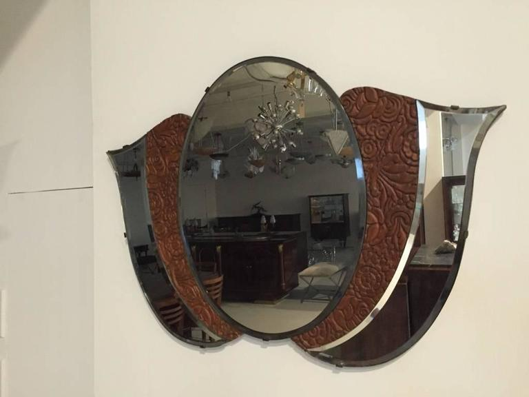 American Art Deco 1920s Mirror with Wood Floral Motif For Sale 3