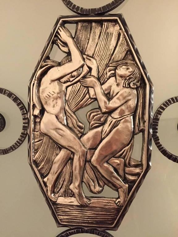 French Art Deco Lantern / Chandelier with Mythical Plaques  In Excellent Condition For Sale In North Bergen, NJ