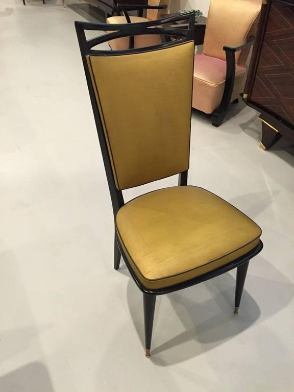 French Art Deco black lacquer dining chairs set of six. Stunning Art Deco lines with very stylish legs.