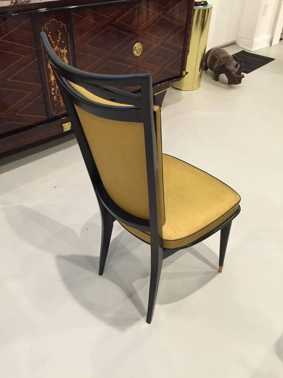 Set of Six French Art Deco Ebonized Dining Chairs, circa 1940s In Excellent Condition For Sale In North Bergen, NJ
