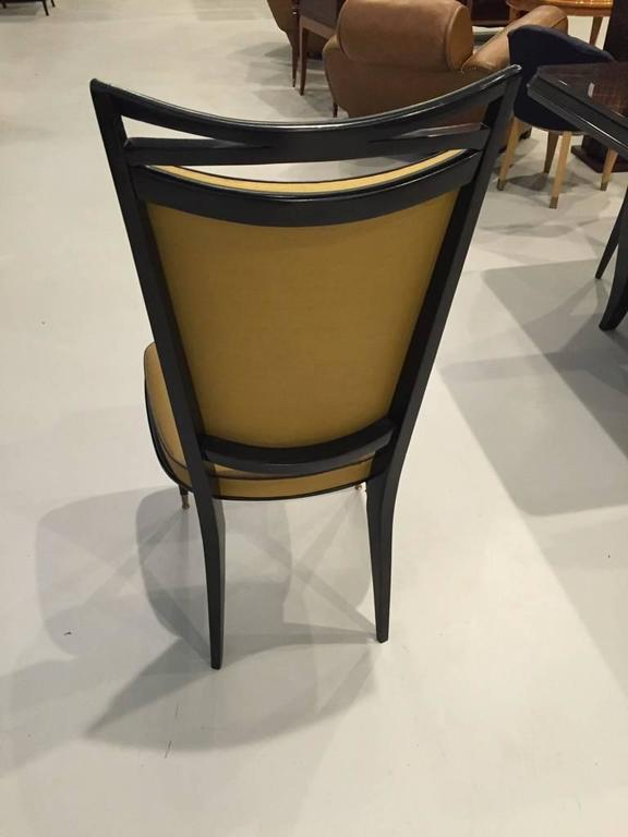 Mid-20th Century Set of Six French Art Deco Ebonized Dining Chairs, circa 1940s For Sale
