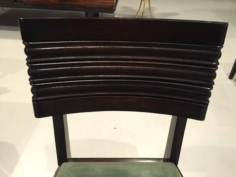 Six Gaston Poisson Attributed French Art Deco Dining Chairs For Sale 1